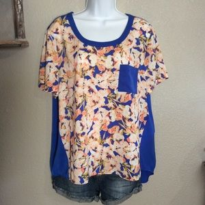EUC XL J Crew Royal Blue Floral Shortsleeve Blouse